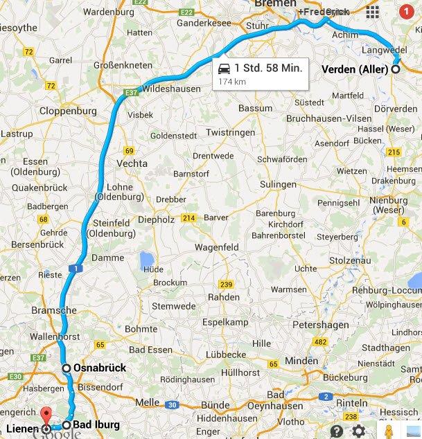Verden - Osnabrück - Bad Iburg -Lienen