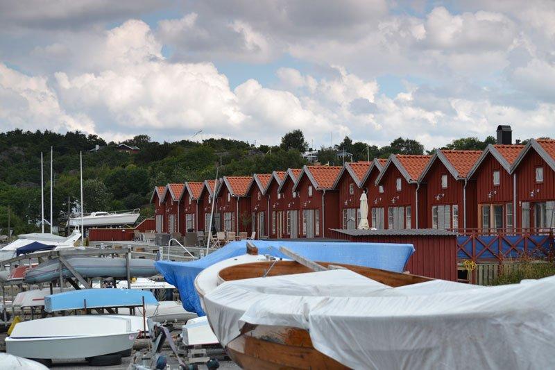 Bootsschuppen im Amundö Yachthafen