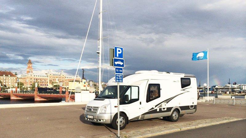 Unser Stellplatz im Hafen von Helsingborg