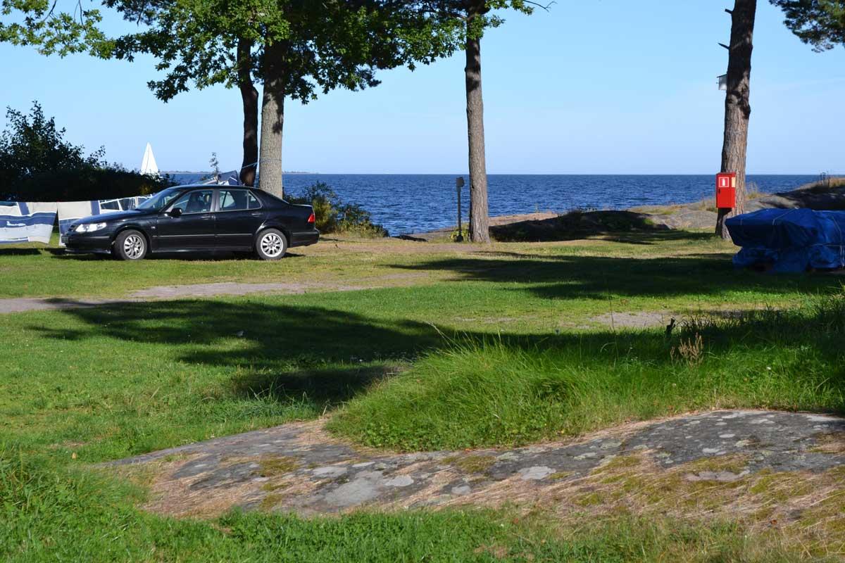 Aussicht vom Wohnmobil auf dem Stellplatz in Gunnarsö
