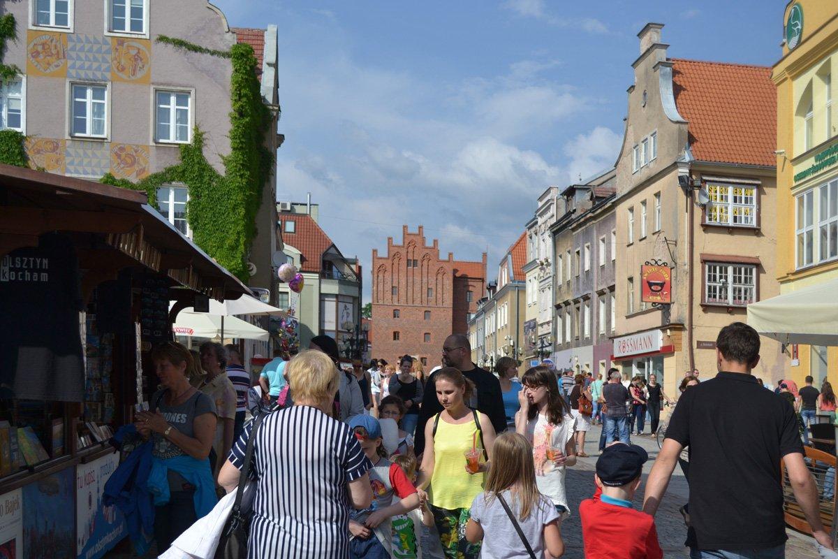 Die Fußgängerzone in der Altstadt von Allenstein