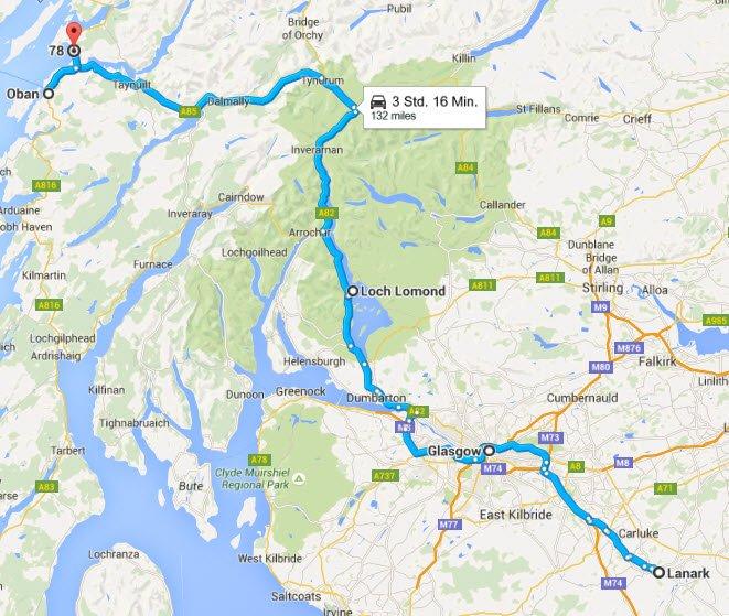 Lanark - Glasgow - Loch Lomond - Oban