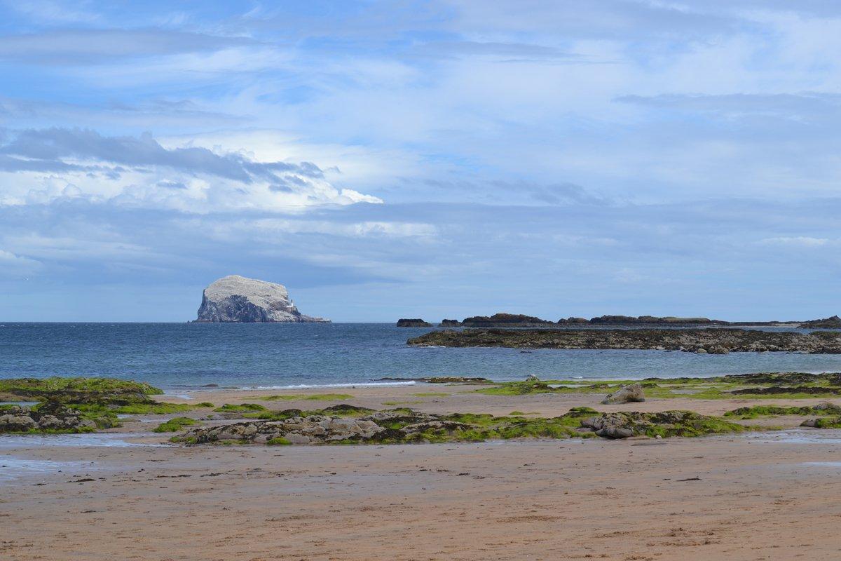 Strand mit Bass Rock im Hintergrund
