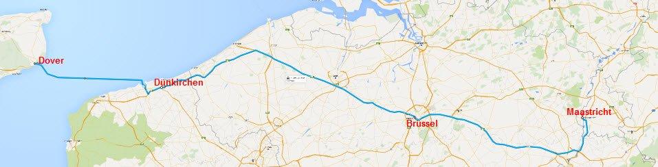 Dover - Dünkirchen - Brüssel - Maastricht