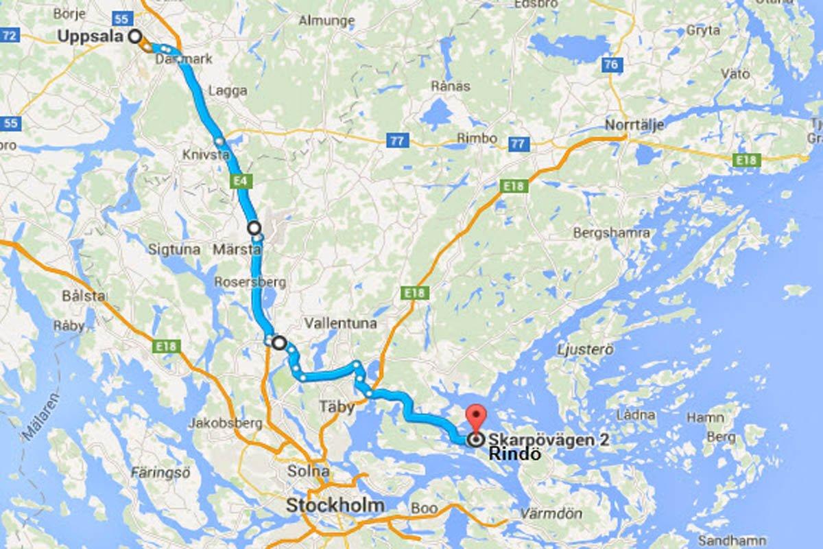 Vaxholm-Rindö nach Uppsala