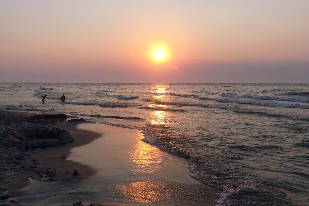 Sonnenuntergang am Krynica Strand