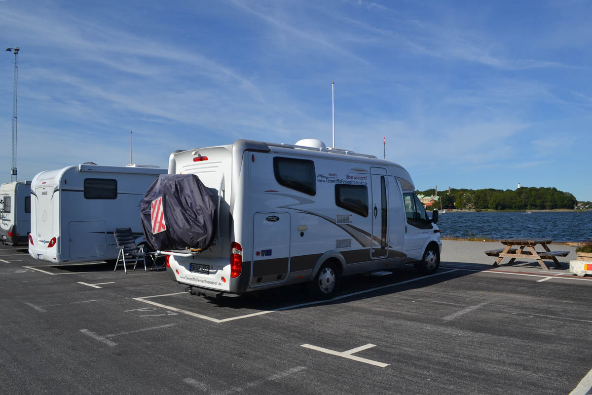 Der neue Stellplatz am Karlskrona Hafen