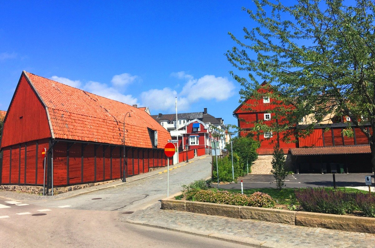 Traditionelle Holzhaus-Architektur in Karlshamn