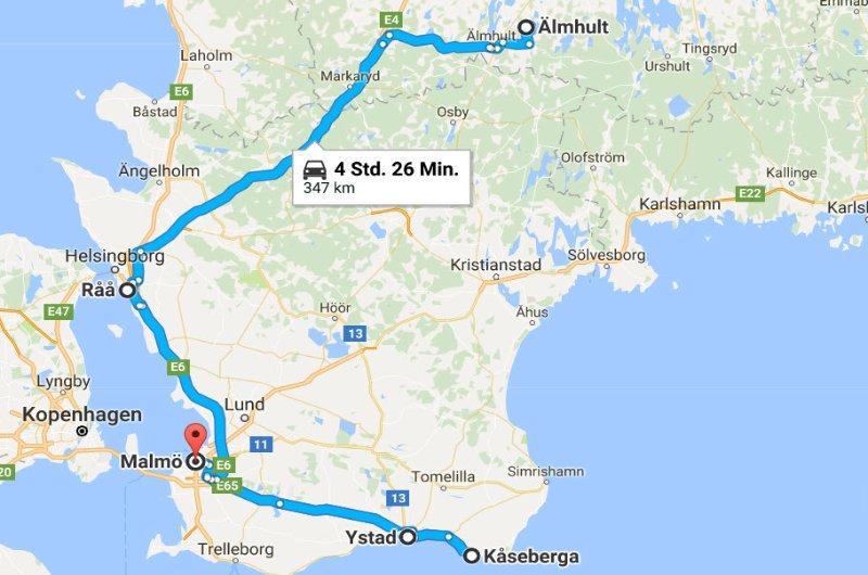 Älmult - Råå - Kåseberga - Ystad - Malmö