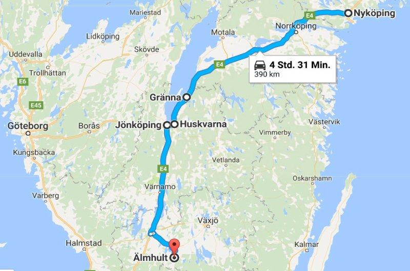 Nyköping - Gränna - Jönköping - Älmhult