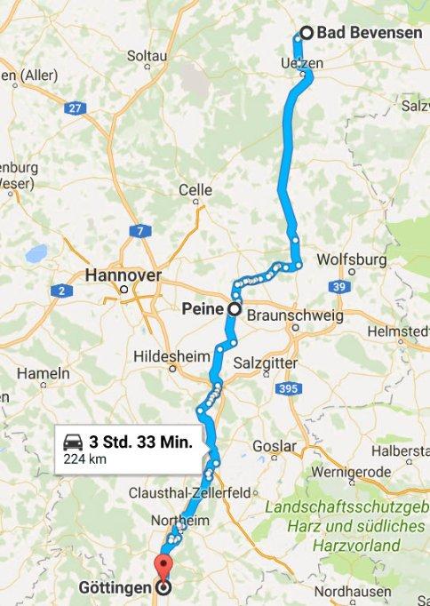 Bad Bevensen - Peine - Göttingen