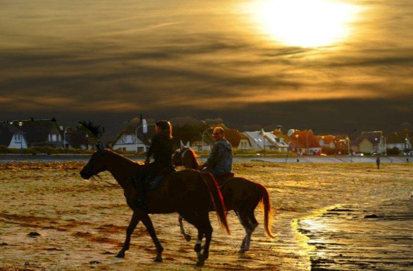 Reiter am Strand in der Abendsonne