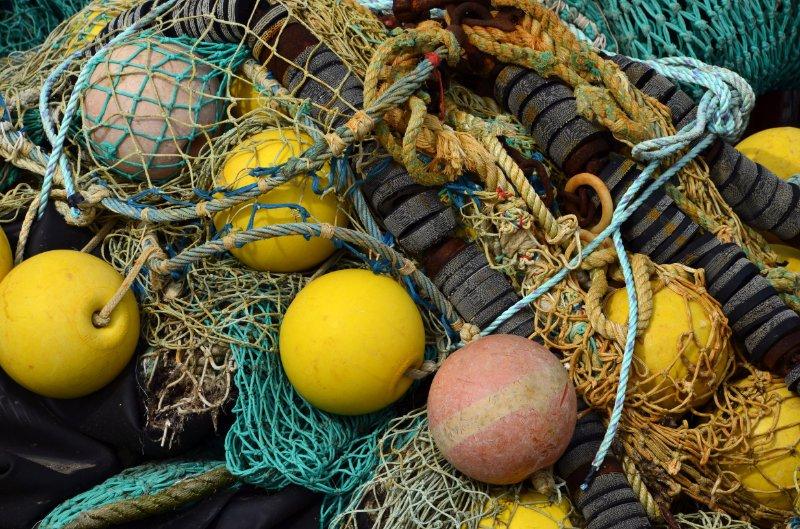 Fischernetze im Hafen
