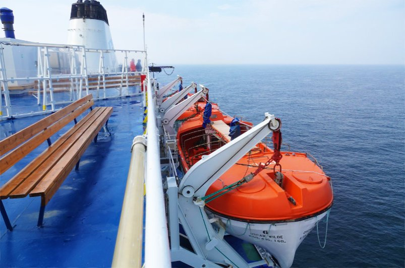 """Die Rettungsboote auf der """"Oskar Wilde"""""""