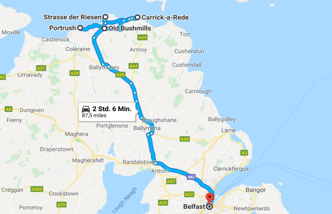 Portrush - Ropebridge - Bushmills - Giant's Causeway - Belfast