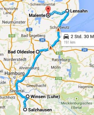 Salzhausen-Winsen-Bad Oldesloe-Lensahn-Malente
