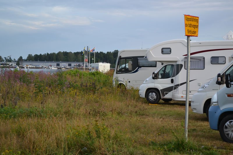 Der Stellplatz am Hafen in Åmål