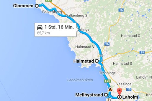 Glommen -Halmstad - Laholm