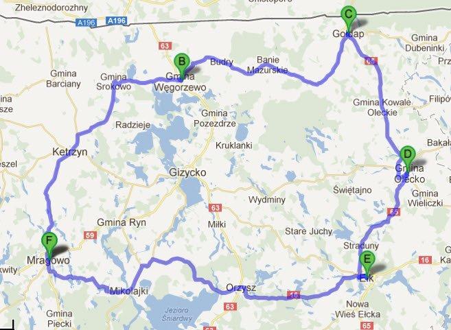 Rundtour Sensburg, Angerburg, Goldap und Lyck