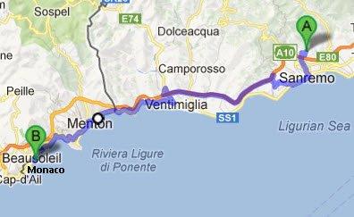 Bahnfahrt von Sanremo nach Monaco und zurück