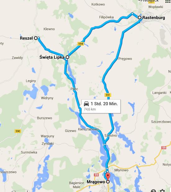 Sensburg - Swieta Lipka - Reszel - Rastenburg - Sensburg