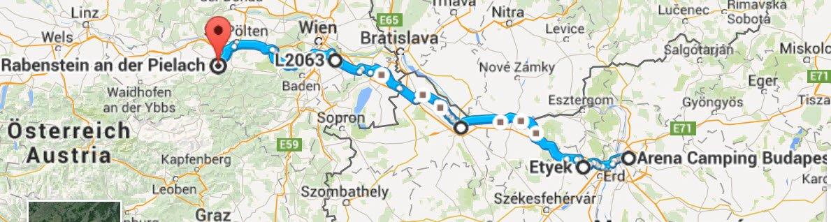 Budapest - Rabenstein 392 km (ohne Autobahn)