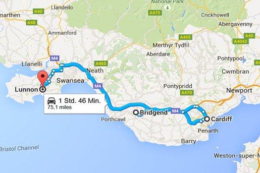 Bridgend - Cardiff - Lunnon (Southgate)