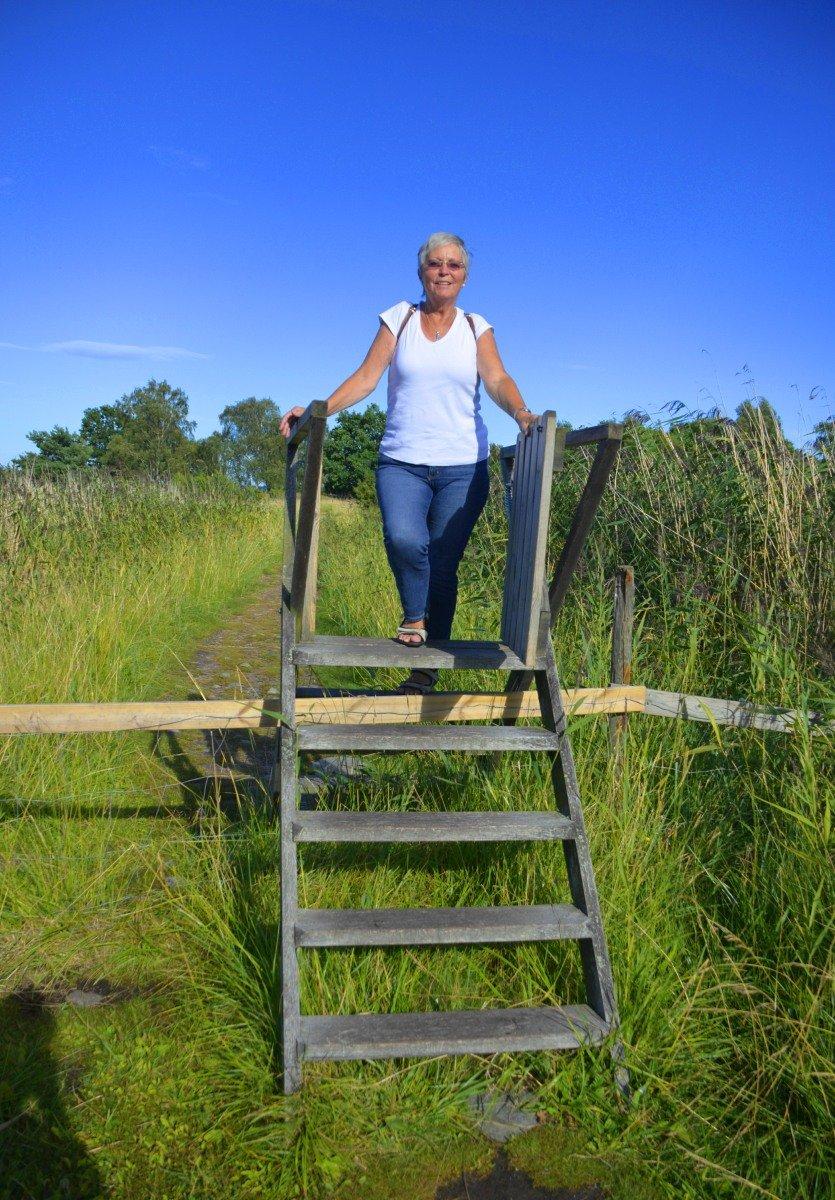 Anne auf Zaunübergang auf Svinö