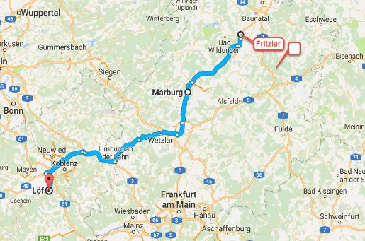 Fritzlar - Marburg - Löf/Mosel