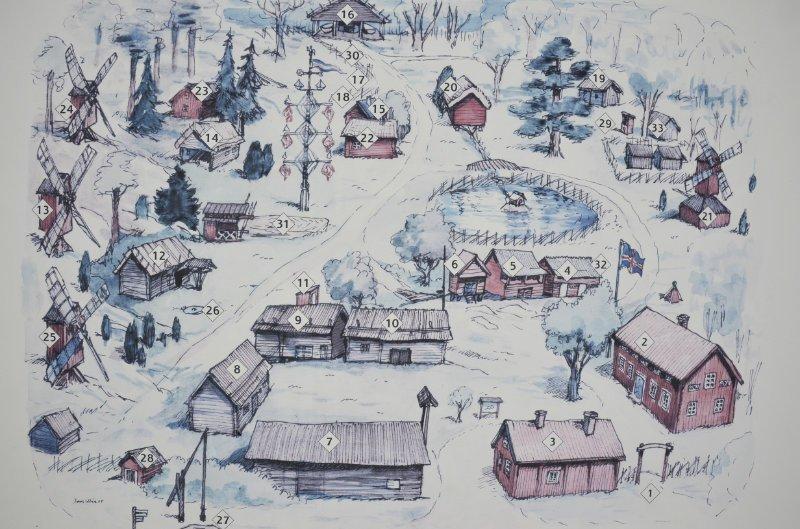 """Grafische Darstellung des Heimatmuseums """"Jan Karlsgården"""""""