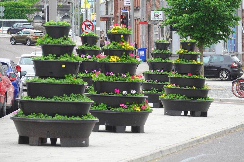 Blumendekoration im Stadtzentrum