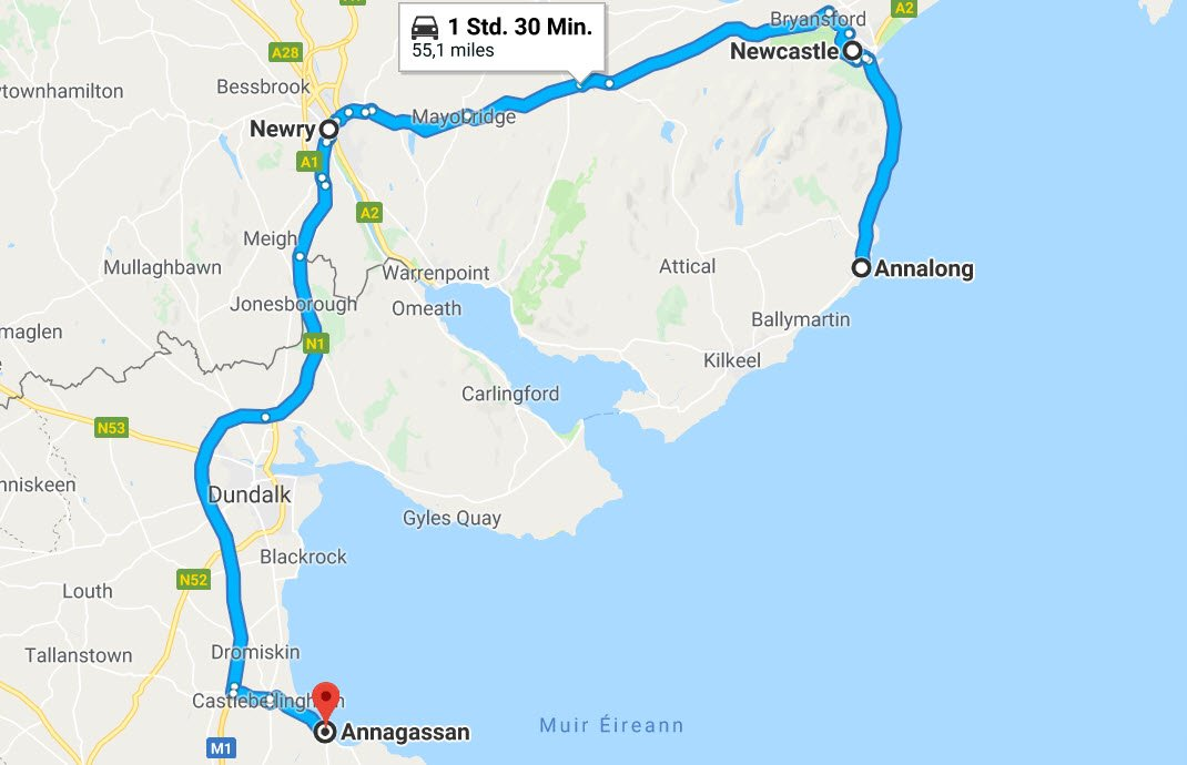 Annalong - Newcastle (NI) - Newry - Dundalk - Annagassan