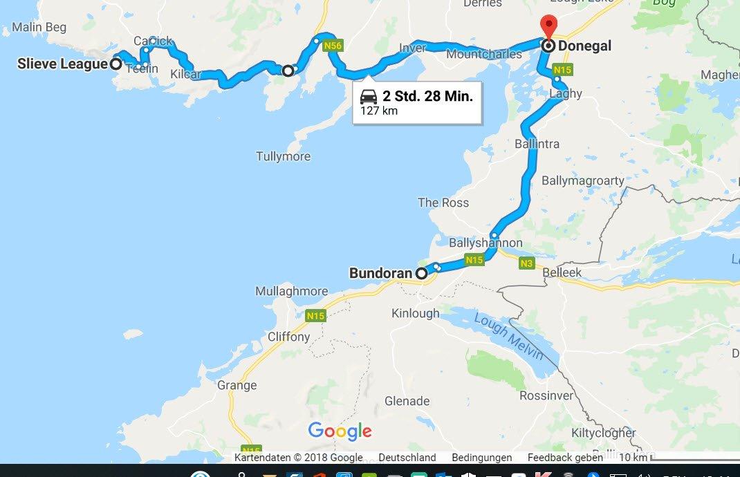 Bundoran - Donegal - Kellybegs - Slieve Mountain und zurück nach Donegal