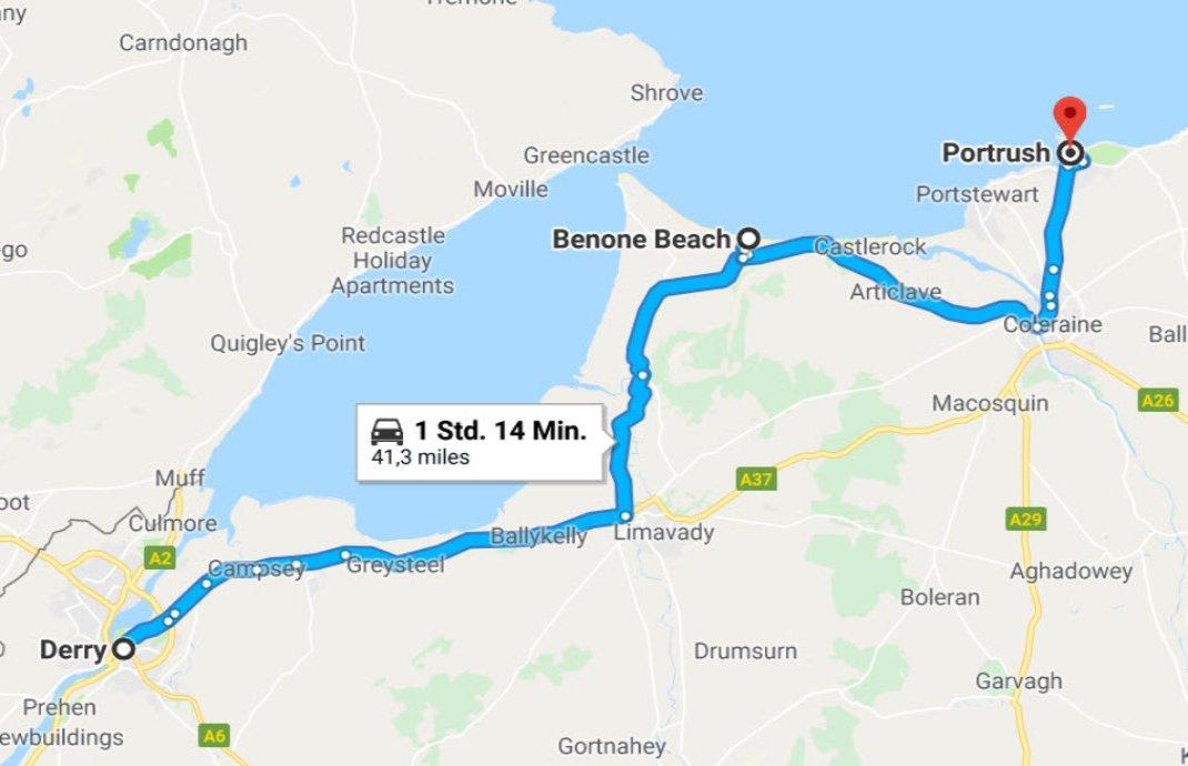 Derry - Benone Beach - Portrush