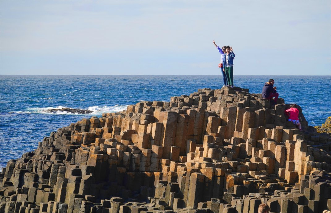 "Die berühmten Basaltsäulen am ""Giant's Causeway"""