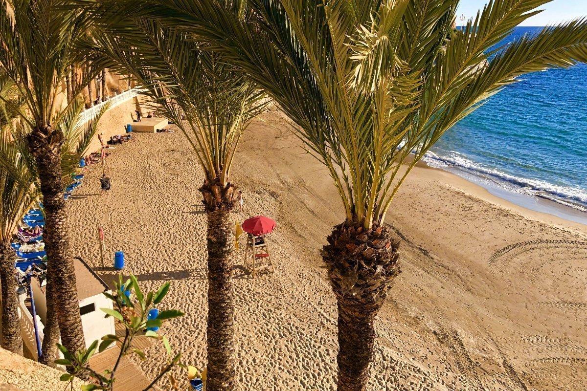 Blick auf den Strand vom Playa Poniente, vom Balcón de Mediterraneo aus gesehen
