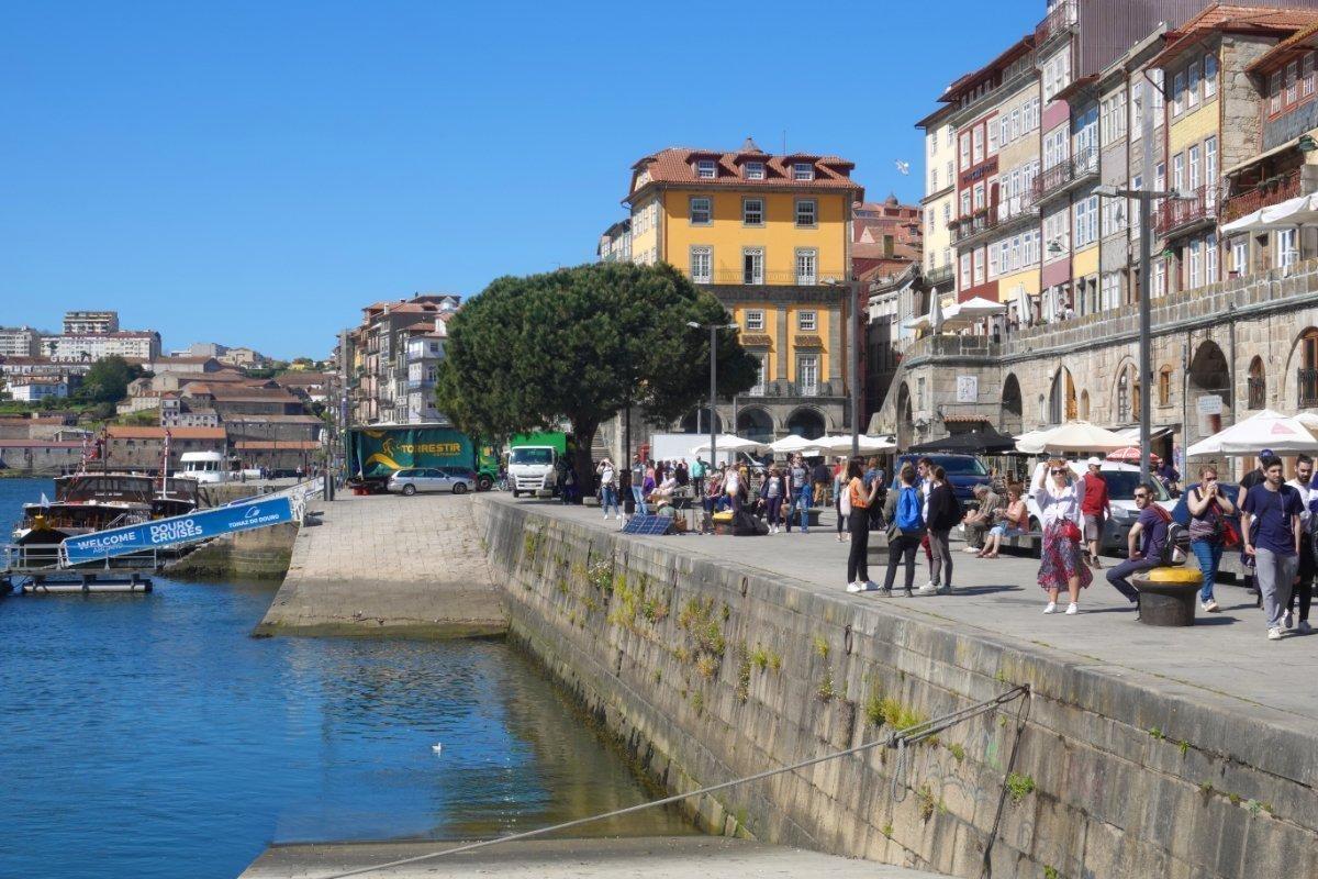 Die belebte Flusspromenade am Douro