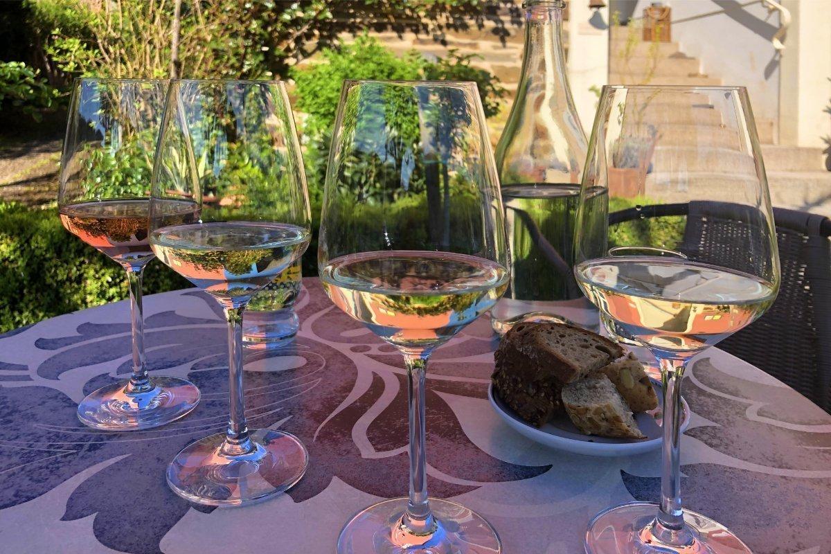 Die ersten vier (von 12) Weinproben
