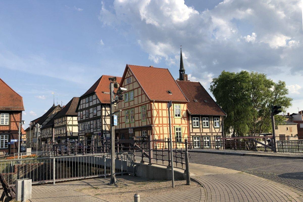 Eldebrücke und Altstadt in Grabow