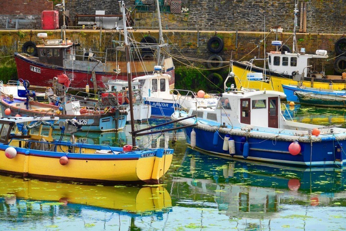 Fischerboote im Mevagissey Hafen