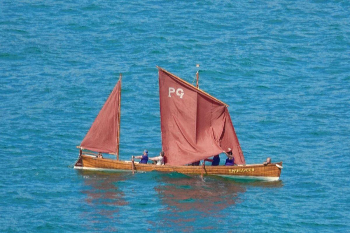 Ruderboot mit Segeln