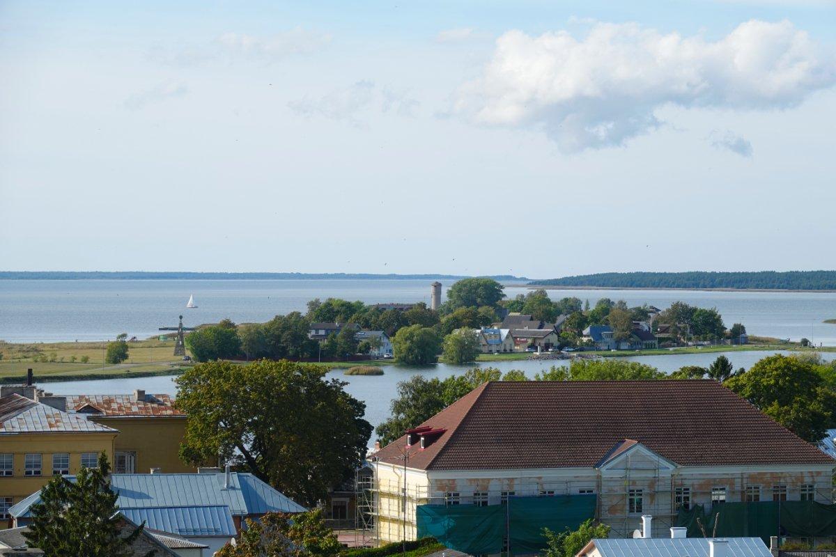 Blick vom Burgturm auf den See