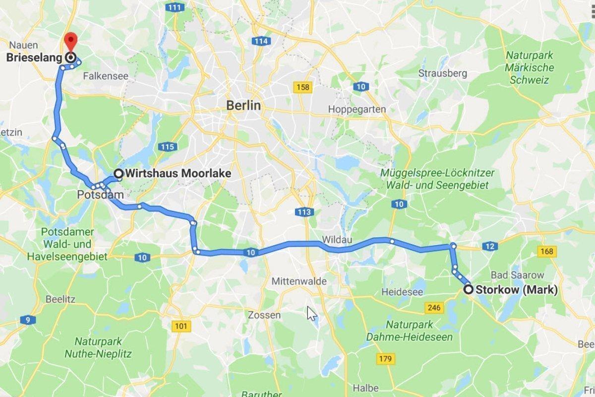Storkow - Wirtshaus Moorlake (Berlin) - Brieselang