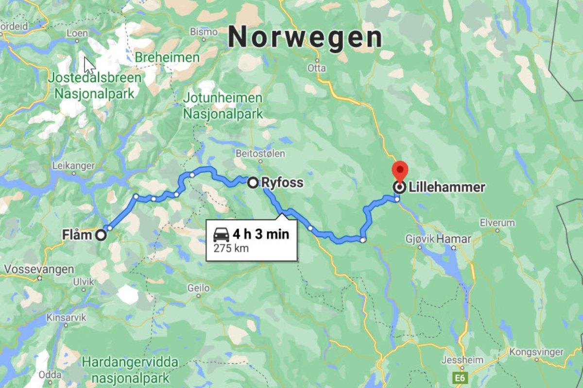Flåm - Ryfoss - Lillehammer