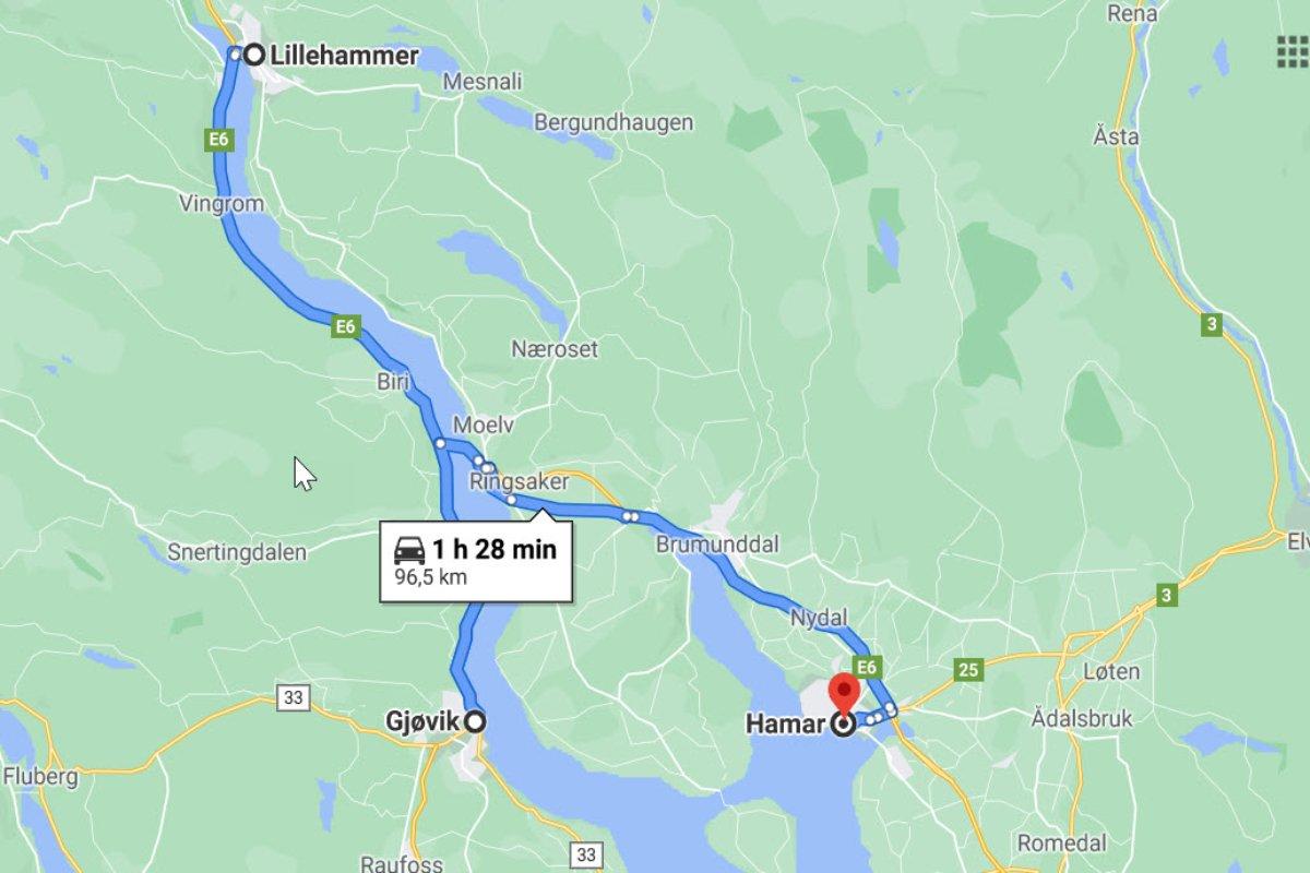 Lillehammer - Gjøvik - Hamar