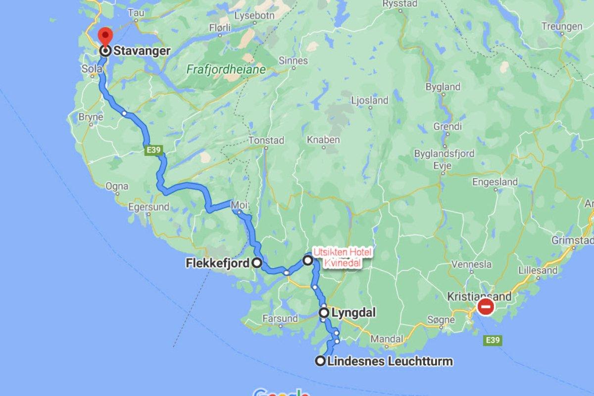 Von Lindesnes nach Stavanger