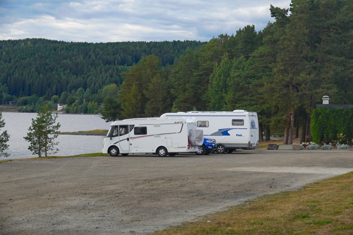 Der Stellplatz am Mjøsa-See