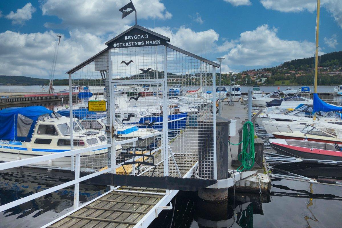 Bootshafen Östersund, direkt am Stellplatz