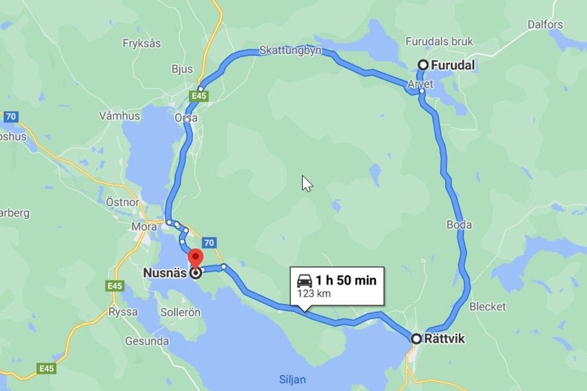Rundfahrt Nusnäs-Furudal-Rättvik-Nusnäs