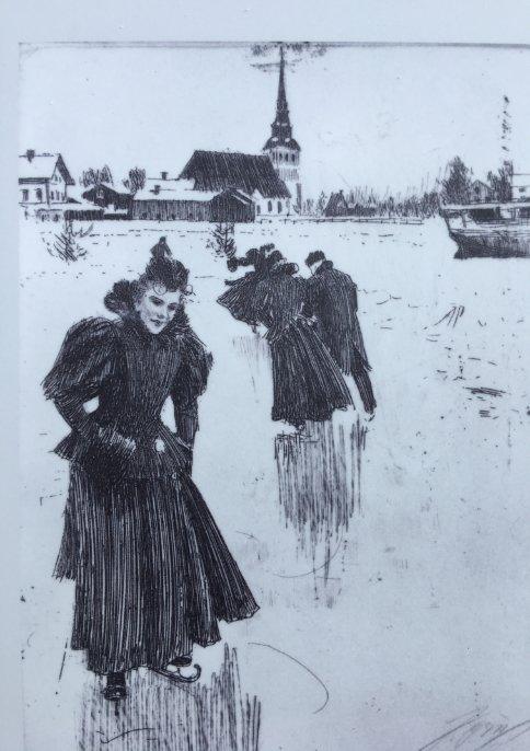 Zeichnung: Schlittschuhläufer in Mora